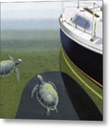 The Curiosity Of Sea Turtles Metal Print by Gary Giacomelli