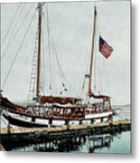 The Cutty Sark In Penn Cove Fog Metal Print by Perry Woodfin