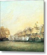 The Fourth Action Off Trincomalee Between The English And The French Metal Print by Dominic Serres