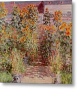 The Garden At Vetheuil Metal Print by Claude Monet