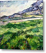 The Green Wheatfield Behind The Asylum Metal Print by Vincent van Gogh