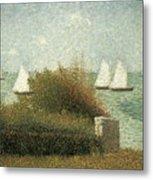 The Harbor At Grandcamp Metal Print by Georges Seurat