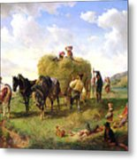 The Hay Harvest Metal Print by Hermann Kauffmann