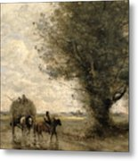 The Haycart Metal Print by Jean Baptiste Camille Corot
