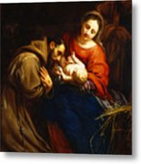 The Holy Family With Saint Francis Metal Print by Jacob van Oost