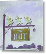 The Hut Bbq Restaurant Sign Metal Print by Jerry Grissom