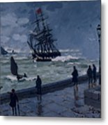 The Jetty At Le Havre In Bad Weather Metal Print by Claude Monet
