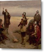 The Landing Of The Pilgrim Fathers Metal Print by George Henry Boughton
