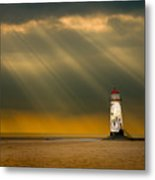 The Lighthouse As The Storm Breaks Metal Print by Meirion Matthias