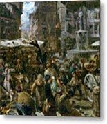 The Market Of Verona Metal Print by Adolph Friedrich Erdmann von Menzel