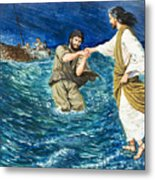 The Miracles Of Jesus Walking On Water  Metal Print by Clive Uptton
