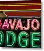 The Navajo Lodge Sign In Prescott Arizona Metal Print by David Patterson