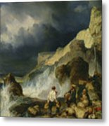 The Onslaught Of The Smugglers Metal Print by Louis Eugene Gabriel Isabey
