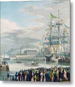 The Opening Of Saint Katharine Docks Metal Print by Edward Duncan