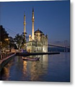 The Ortakoy Mosque And Bosphorus Bridge At Dusk Metal Print by Ayhan Altun