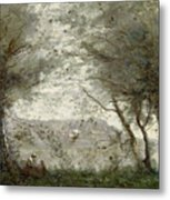 The Pond Metal Print by Jean Baptiste Corot