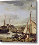 The Quay At Rouen Metal Print by Jean Baptiste Camille Corot