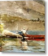 The Red Canoe Metal Print by Pg Reproductions