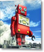 The Red Tin Robot And The City Metal Print by Luca Oleastri