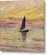 The Sailing Boat Evening Effect Metal Print by Claude Monet