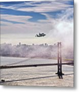 The Space Shuttle Endeavour Over Golden Gate Bridge 2012 Metal Print by David Yu