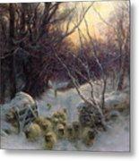 The Sun Had Closed The Winter Day Metal Print by Joseph Farquharson