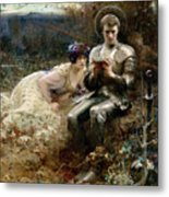 The Temptation Of Sir Percival Metal Print by Arthur Hacker