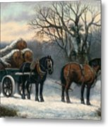 The Timber Wagon In Winter Metal Print by Anonymous