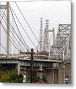 The Two Carquinez Bridges At Crockett And Vallejo California . Aka Alfred Zampa Memorial Bridge . 7d8919 Metal Print by Wingsdomain Art and Photography
