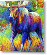 The Urge To Merge - Bull Moose Metal Print by Marion Rose