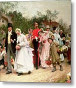 The Village Wedding Metal Print by Sir Samuel Luke Fildes