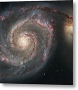 The Whirlpool Galaxy M51 And Companion Metal Print by Stocktrek Images