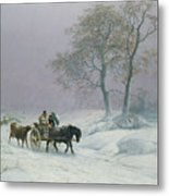 The Wintry Road To Market  Metal Print by Thomas Sidney Cooper