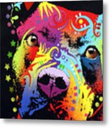Thoughtful Pitbull Warrior Heart Metal Print by Dean Russo