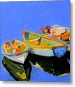 Three Colourful Boats Metal Print by Sue Gardner