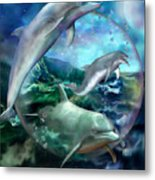 Three Dolphins Metal Print by Carol Cavalaris
