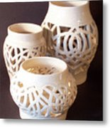 Three Interlaced Design Wheel Thrown Pots Metal Print by Carolyn Coffey Wallace