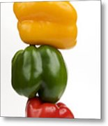 Three Peppers Metal Print by Bernard Jaubert