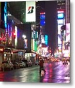 Times Square In The Rain 2 Metal Print by Anita Burgermeister