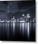 Toronto Skyline Monochrome Metal Print by Matt  Trimble