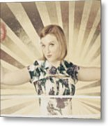 Tough Vintage Boxing Girl Winning Round In Gloves Metal Print by Jorgo Photography - Wall Art Gallery