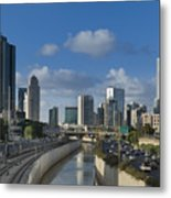 Traffic Flowing In And Out Of Downtown Tel Aviv Metal Print by Noam Armonn