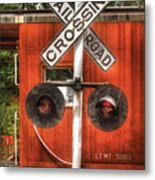 Train - Yard - Railroad Crossing Metal Print by Mike Savad