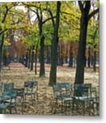 Trees And Empty Chairs In Autumn Metal Print by Stephen Sharnoff