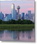 Trinity River With Skyline, Dallas Metal Print by Michael Fitzgerald Fine Art Photography of Texas