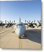 Troops Stand On The Wings Of A C-130 Metal Print by Terry Moore