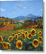 Tuscan Sunflowers Metal Print by Chris Mc Morrow