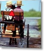 Two Little Amish Boys In A Buggy Metal Print by Randy Matthews