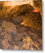 Two Skeletons Crawl Up A Rocky Hill Metal Print by Taylor S. Kennedy