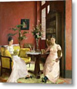 Two Women Reading In An Interior  Metal Print by Jean Georges Ferry